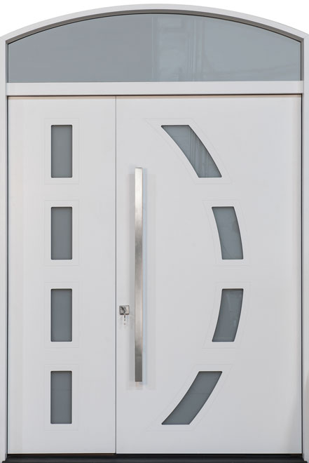 Modern Rift Cut Oak Veneer Wood Front Door - Single with 1 Sidelite w/ Transom - DB-EMD-C4 1SL TR CST