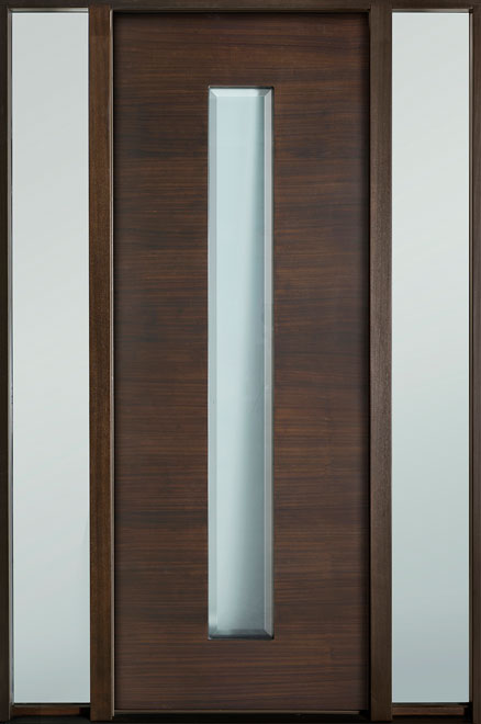 Modern Euro Collection Mahogany Wood Veneer Wood Entry Door - Single with 2 Sidelites - DB-EMD-D4T 2SL