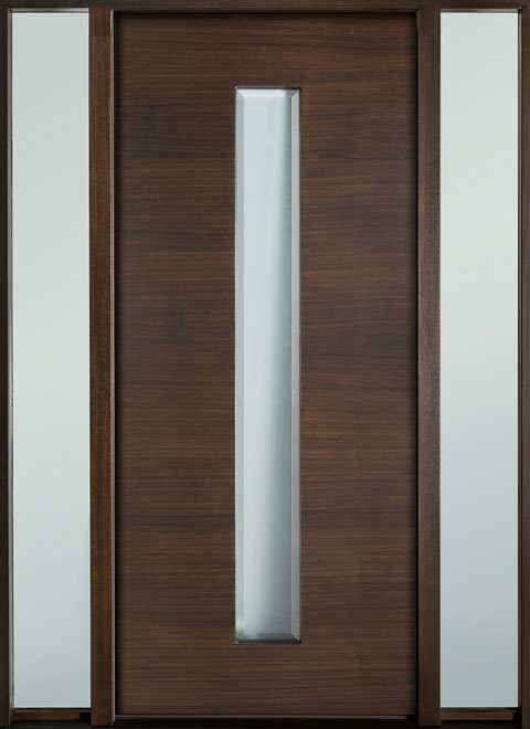 Modern Euro Collection Mahogany Wood Veneer Wood Entry Door - Single with 2 Sidelites - DB-EMD-D4W 2SL