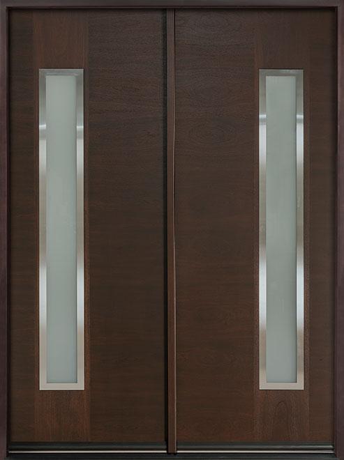 Modern Mahogany Wood Veneer Wood Front Door - Double - DB-EMD-E4T DD CST