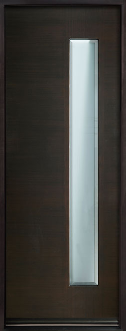 Modern Euro Collection Mahogany Wood Veneer Wood Entry Door - Single - DB-EMD-E4T