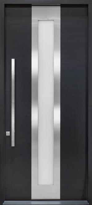 Modern Mahogany Wood Veneer Wood Front Door - Single - DB-EMD-F4W CST
