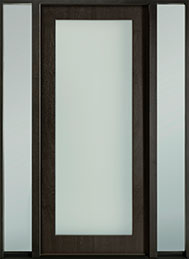 DB-EMD-001W 2SL Mahogany Wood Veneer-Espresso  Wood Entry Door - Single with 2 Sidelites