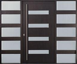 Modern Mahogany Wood Veneer Wood Front Door  - GD-EMD-004W 2SL CST