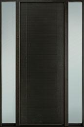 DB-EMD-711T 2SL-CG Mahogany Wood Veneer-Espresso  Wood Entry Door - Single with 2 Sidelites