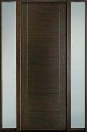 DB-EMD-711T 2SL-CG Mahogany Wood Veneer-Walnut  Wood Entry Door - Single with 2 Sidelites