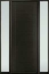 DB-EMD-711T 2SL Mahogany Wood Veneer-Espresso  Wood Entry Door - Single with 2 Sidelites