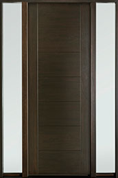 DB-EMD-711T 2SL Mahogany Wood Veneer-Walnut  Wood Entry Door - Single with 2 Sidelites