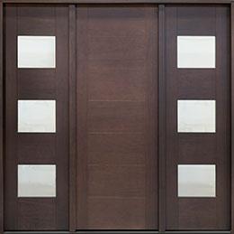 Modern Mahogany Wood Veneer Wood Front Door  - GD-EMD-711T 2SL CST