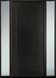DB-EMD-711W 2SL-CG Mahogany Wood Veneer-Espresso  Wood Entry Door - Single with 2 Sidelites