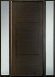 DB-EMD-711W 2SL-CG Mahogany Wood Veneer-Walnut  Wood Entry Door - Single with 2 Sidelites