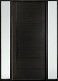 DB-EMD-711W 2SL Mahogany Wood Veneer-Espresso  Wood Entry Door - Single with 2 Sidelites