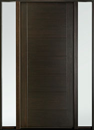 DB-EMD-711W 2SL Mahogany Wood Veneer-Walnut  Wood Entry Door - Single with 2 Sidelites