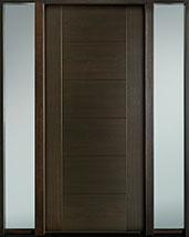 DB-EMD-711 2SL-CG Mahogany Wood Veneer-Walnut  Wood Entry Door - Single with 2 Sidelites