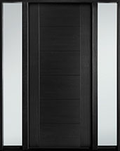 DB-EMD-711 2SL Mahogany Wood Veneer-Espresso  Wood Entry Door - Single with 2 Sidelites