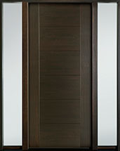 DB-EMD-711 2SL Mahogany Wood Veneer-Walnut  Wood Entry Door - Single with 2 Sidelites