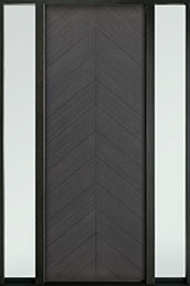 DB-EMD-715T 2SL Oak Wood Veneer-Gray-Oak  Wood Entry Door - Single with 2 Sidelites