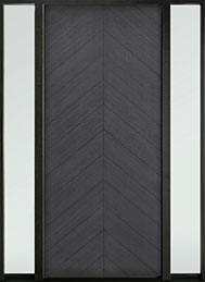 DB-EMD-715W 2SL Oak Wood Veneer-Gray-Oak  Wood Entry Door - Single with 2 Sidelites