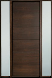 DB-EMD-A4T 2SL Mahogany Wood Veneer-Walnut  Wood Entry Door - Single with 2 Sidelites