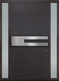 DB-EMD-A4W 2SL CST Mahogany Wood Veneer-Coffee Bean  Wood Front Door