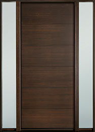 DB-EMD-A4W 2SL Mahogany Wood Veneer-Walnut  Wood Entry Door - Single with 2 Sidelites