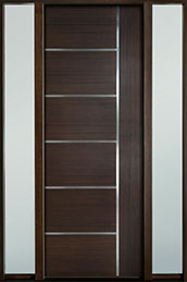 DB-EMD-B1T 2SL Mahogany Wood Veneer-Walnut  Wood Entry Door - Single with 2 Sidelites