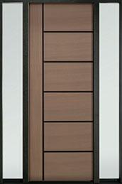 DB-EMD-B1T 2SL Mahogany Wood Veneer-Light-Loft  Wood Entry Door - Single with 2 Sidelites