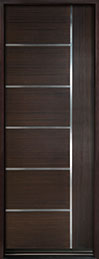 DB-EMD-B1T Mahogany Wood Veneer-Walnut  Wood Entry Door - Single