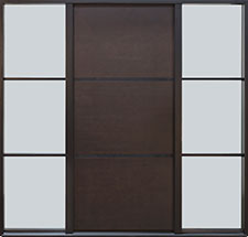 DB-EMD-B1W 2SL CST Mahogany Wood Veneer-Coffee Bean  Wood Front Door