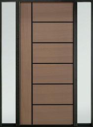 DB-EMD-B1W 2SL Mahogany Wood Veneer-Light-Loft  Wood Entry Door - Single with 2 Sidelites