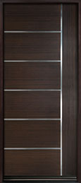 DB-EMD-B1W Mahogany Wood Veneer-Walnut  Wood Entry Door - Single