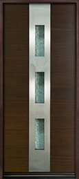 DB-EMD-C2W Mahogany Wood Veneer-Walnut  Wood Entry Door - Single