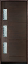 DB-EMD-C3W Mahogany Wood Veneer-Walnut  Wood Entry Door - Single