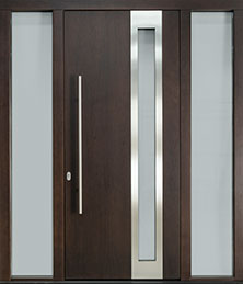 DB-EMD-C3 2SL CST  Mahogany Wood Veneer-Walnut  Wood Front Door