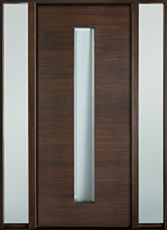 DB-EMD-D4W 2SL Mahogany Wood Veneer-Walnut  Wood Entry Door - Single with 2 Sidelites