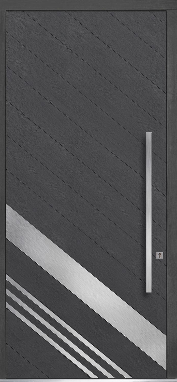 Oak-Wood-Veneer Solid Wood Front Entry Door - Single