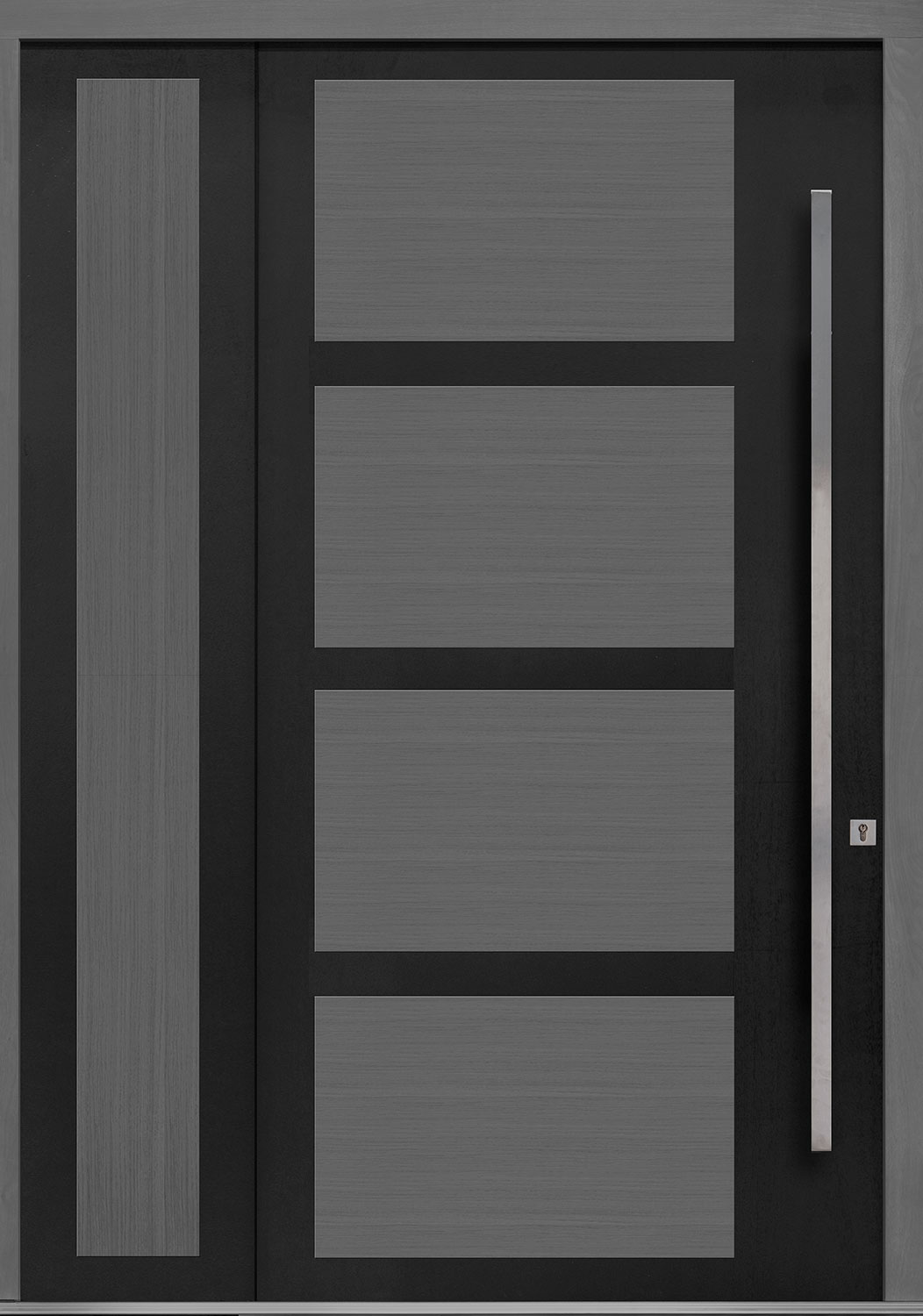 Aluminum-Clad-and-Oak Solid Wood Front Entry Door - Single with Solid Sidelite