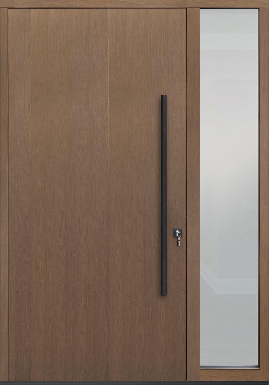 Oak-Wood-Veneer Solid Wood Front Entry Door - Single with 1 Sidelite