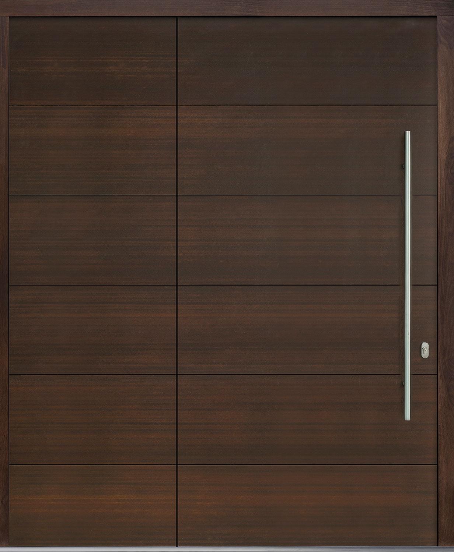 Mahogany-Wood-Veneer Solid Wood Front Entry Door - Single with Solid Sidelite