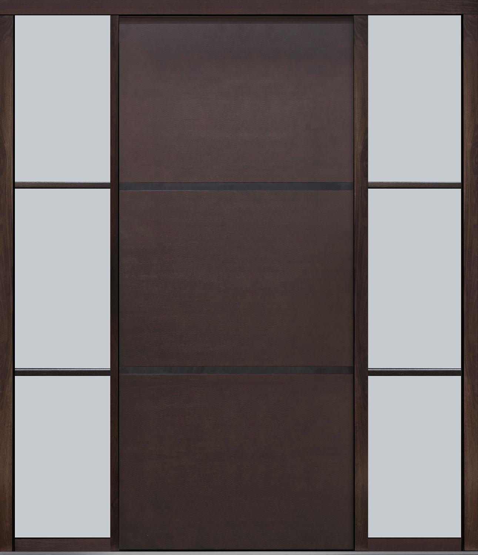 Mahogany-Wood-Veneer Solid Wood Front Entry Door - Single with 2 Sidelites