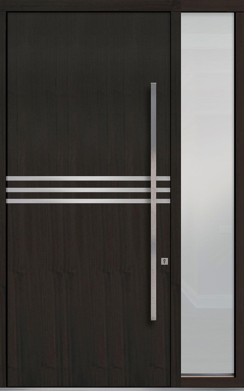 Mahogany-Wood-Veneer Solid Wood Front Entry Door - Single with 1 Sidelite