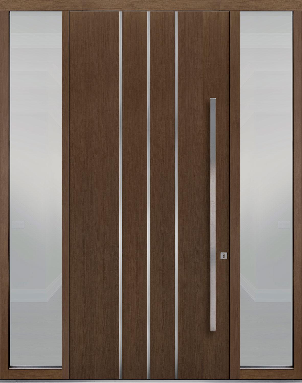 Oak-Wood-Veneer Solid Wood Front Entry Door - Single with 2 Sidelites