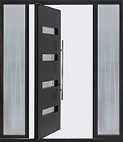 DB-PVT-004-2SL18_Mahogany-Espresso_Chinchila-Custom-Glass_48x96 - Solid Wood Front Door Close-up 0