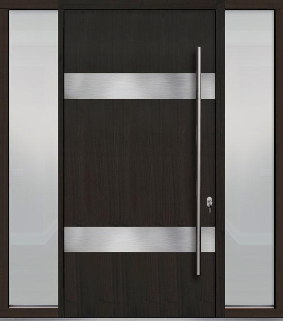 Pivot Mahogany-Wood-Veneer Wood Front Door  - GD-PVT-M1 2SL18 48x96