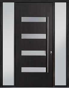 Custom Pivot Front  Door Example, Mahogany-Wood-Veneer-Espresso DB-PVT-004 2SL18 48x108
