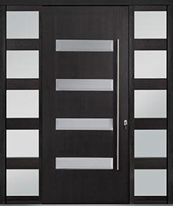 Custom Pivot Front  Door Example, Mahogany-Wood-Veneer-Espresso DB-PVT-004 2SL24B 48x108