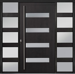 Custom Pivot Front  Door Example, Mahogany-Wood-Veneer-Espresso DB-PVT-004 2SL24B 48x96