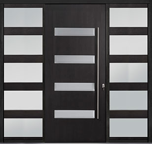 Custom Pivot Front  Door Example, Mahogany-Wood-Veneer-Espresso DB-PVT-004 2SL30B 48x108
