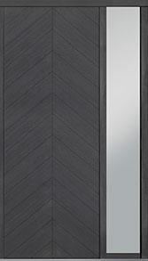 Custom Pivot Front  Door Example, Oak Wood Veneer-Gray-Oak DB-PVT-715 1SL18 42x108