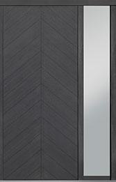 Custom Pivot Front  Door Example, Oak Wood Veneer-Gray-Oak DB-PVT-715 1SL18 42x96